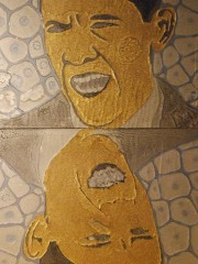 Mohamed Taman | Obamas DoubleFaces | mixed of petrolium colors on wood | 2009 | Two pieces (30 x 30 cm per each)