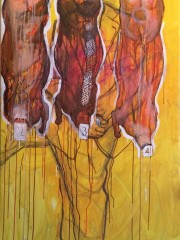 Weaam El Masry,100X200 cm, Pen and Ecoline on canvas, 2014, 35.000 EGP